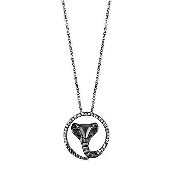 Enchanted Disney Fine Jewelry Villains Womens 1/10 CT. T.W. Genuine Diamond Sterling Silver Jafar Pendant Necklace