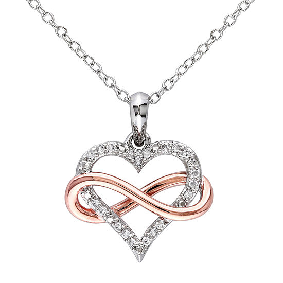 Womens 1/10 CT. T.W. Genuine White Diamond 18K Gold Over Silver Heart Pendant Necklace