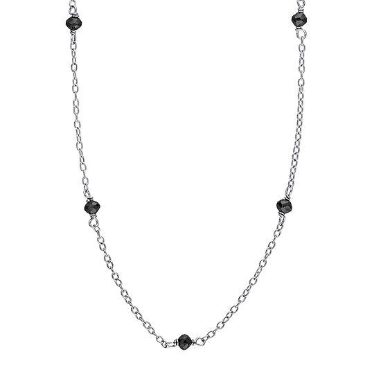 Womens 1 CT. T.W. Genuine Black Diamond Sterling Silver Pendant Necklace