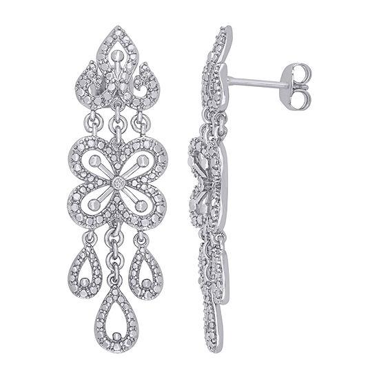 Diamond Accent Genuine White Diamond Sterling Silver Drop Earrings