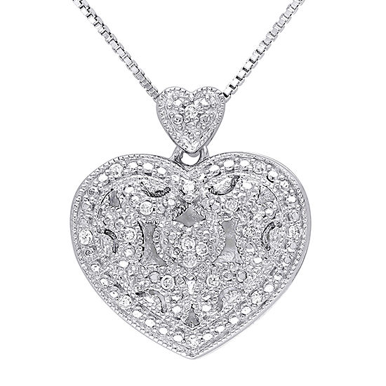 Locket Womens Diamond Accent Genuine White Diamond Sterling Silver Heart Pendant Necklace