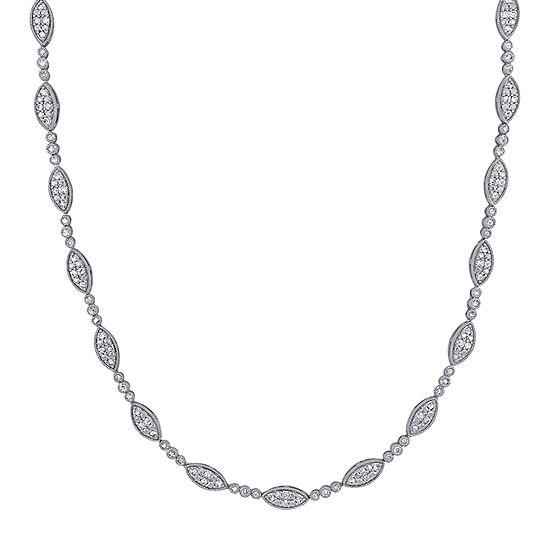 Womens 2 CT. T.W. Genuine White Diamond Sterling Silver Tennis Necklaces