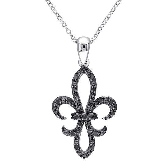 Womens 1/4 CT. T.W. Genuine Black Diamond Sterling Silver Fleur De Lis Pendant