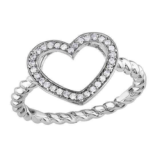 Womens 1/8 CT. T.W. Genuine White Diamond Sterling Silver Heart Cocktail Ring