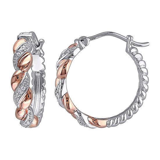 Diamond Accent Genuine White Diamond 18K Rose Gold Over Silver 21.6mm Hoop Earrings
