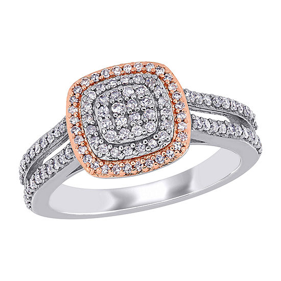 Womens 1/2 CT. T.W. Genuine White Diamond 18K Gold Over Silver Cocktail Ring