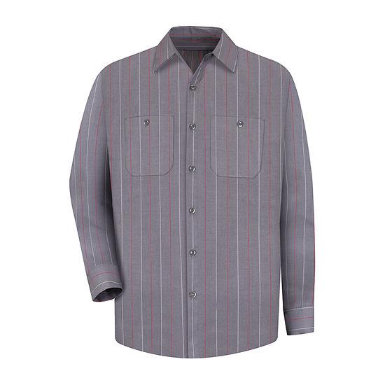 Red Kap Mens Long Sleeve Striped Button-Front Shirt