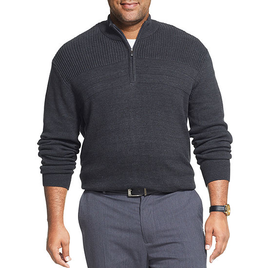 Van Heusen Mock Neck Long Sleeve Pullover Sweater- Big and Tall