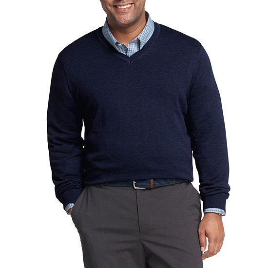 Van Heusen V Neck Long Sleeve Pullover Sweater - Big and Tall