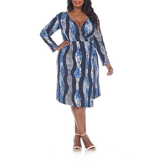 White Mark Roselle Long Sleeve Animal Wrap Dress - Plus