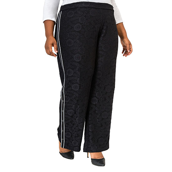 Poetic Justice Womens High Rise Over Belly Wide Leg Palazzo Pant-Plus