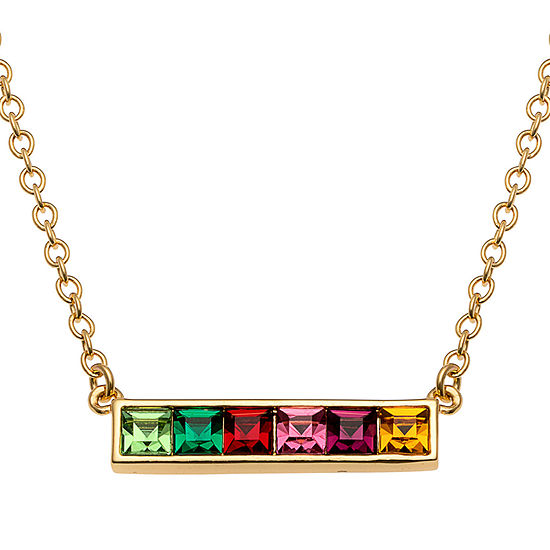 Womens Simulated Multi Color Cubic Zirconia 14K Gold Over Silver Square Pendant Necklace