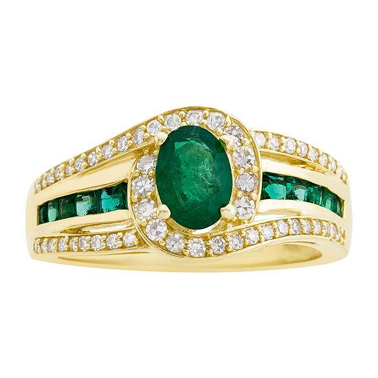 Genuine Emerald & 1/3  C.T. T.W. Diamond 10K Yellow Gold Ring