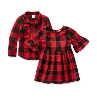 Okie Dokie Girls 3/4 Sleeve Bell Sleeve Plaid A-Line Dress - Toddler