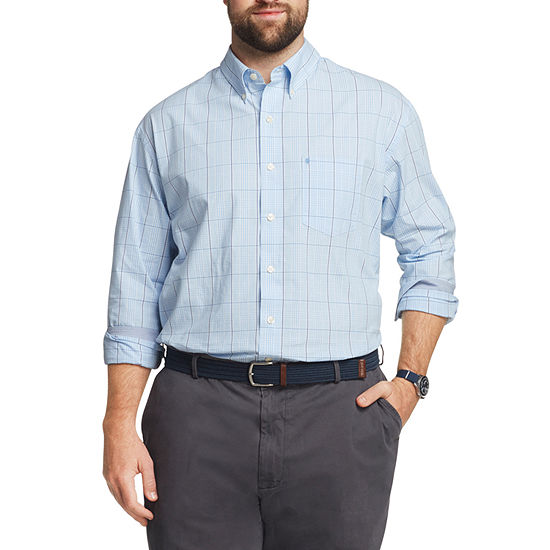 IZOD Mens Long Sleeve Button-Front Shirt - Big and Tall