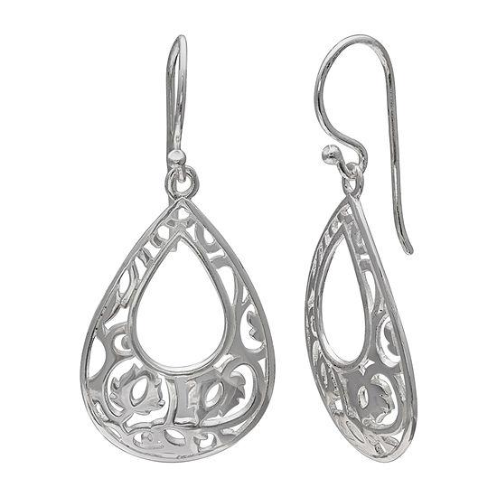Silver Treasures Spiral Sterling Silver Drop Earrings