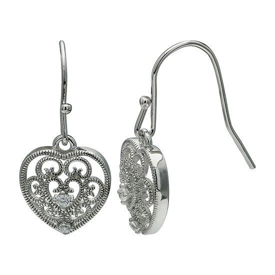 Silver Treasures Heart Cubic Zirconia Sterling Silver Heart Drop Earrings