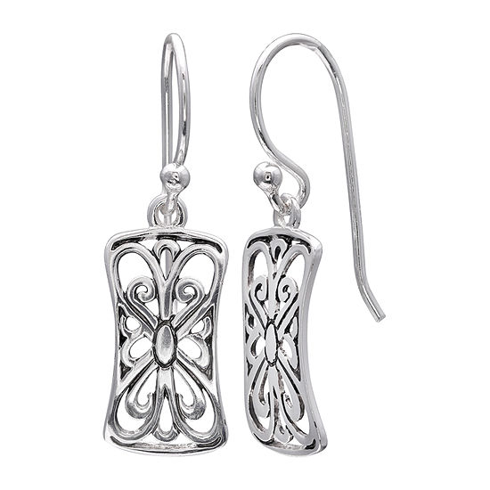 Silver Treasures Scroll Sterling Silver Drop Earrings