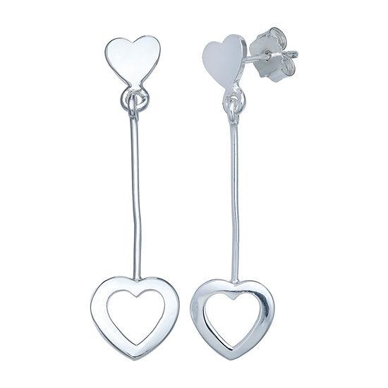 Silver Treasures Heart Sterling Silver Heart Drop Earrings