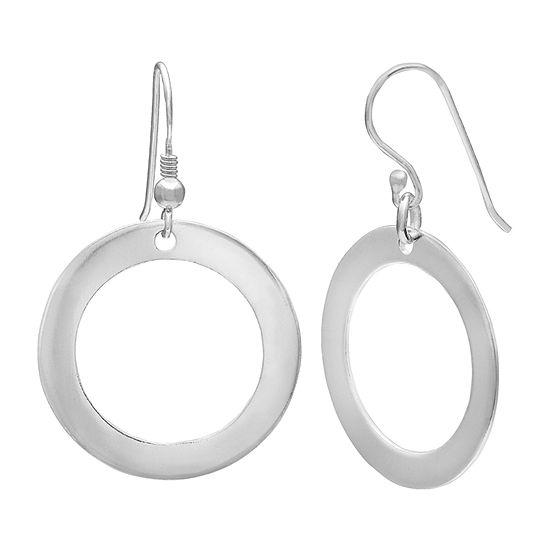 Silver Treasures Circle Sterling Silver Drop Earrings