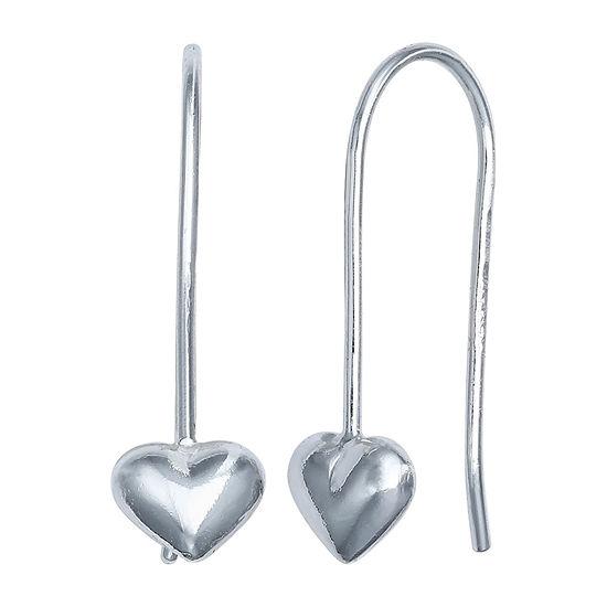 Silver Treasures Puffed Heart Sterling Silver Heart Drop Earrings
