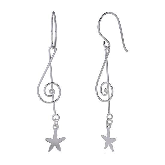 Silver Treasures Swirl Sterling Silver Drop Earrings