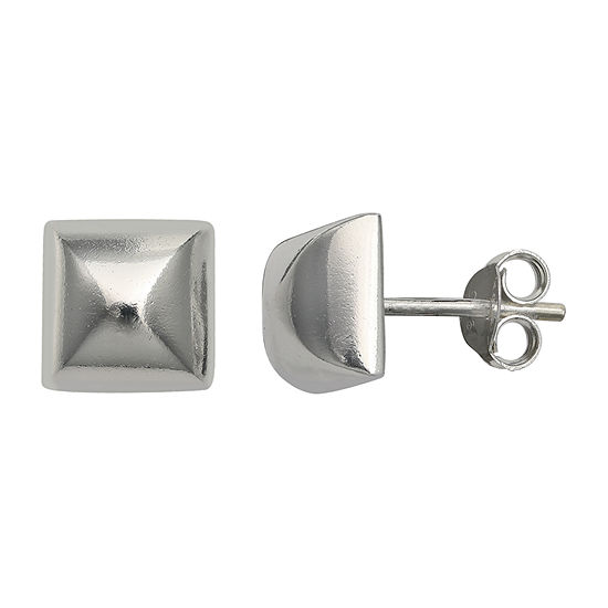 Silver Treasures Square Sterling Silver 10mm Square Stud Earrings