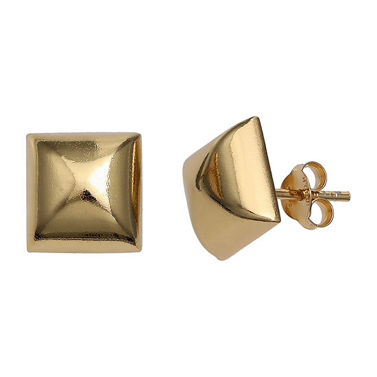 Silver Treasures Square 18K Gold Over Silver 10mm Stud Earrings
