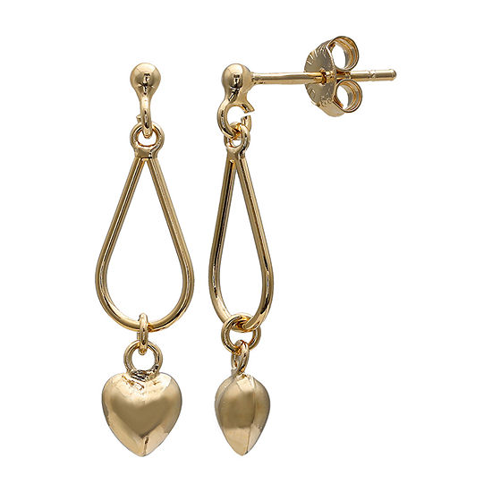 Silver Treasures Teardrop Puffed Heart 18K Gold Over Silver Heart Drop Earrings