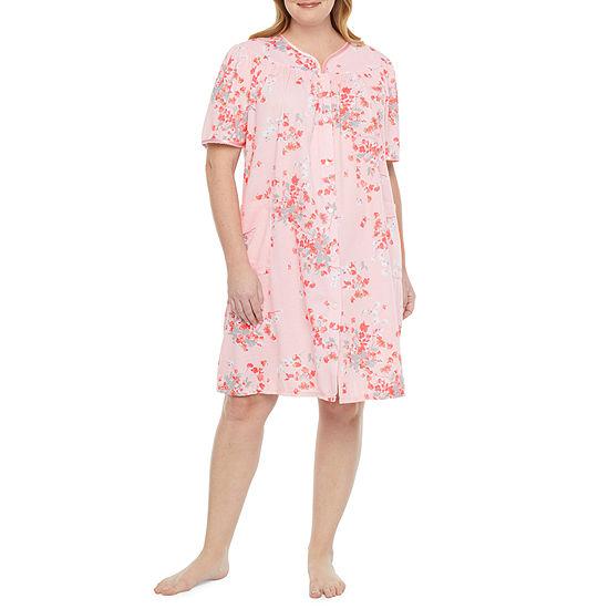 Adonna Womens-Plus Knit Robe Short Sleeve Knee Length