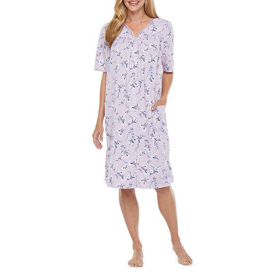 Adonna Womens Knit Robe Short Sleeve Knee Length
