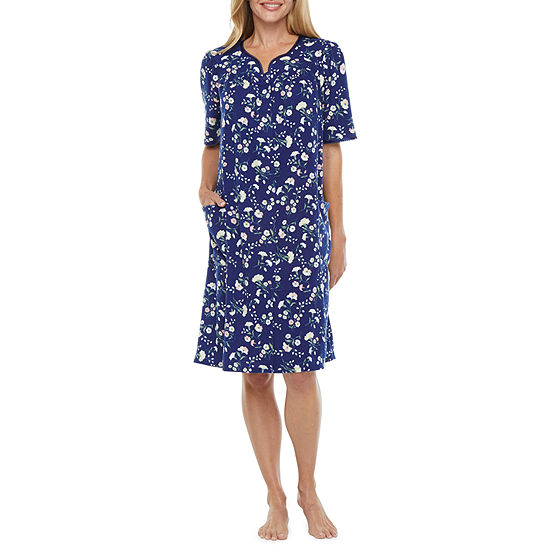 Adonna Womens-Petite  Short Sleeve Knee Length Knit Robe