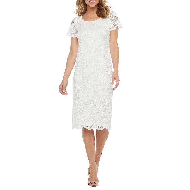 Vintage Inspired Wedding Dresses | Vintage Style Wedding Dresses Ronni Nicole Short Sleeve Floral Lace Midi Sheath Dress $37.49 AT vintagedancer.com