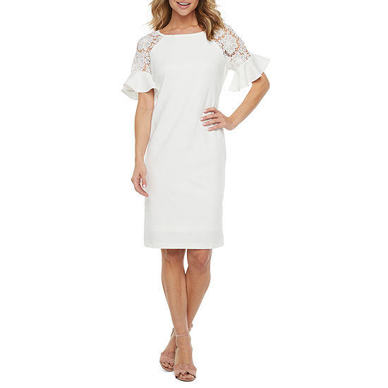 Ronni Nicole Short Bell Lace Sleeve Sheath Dress
