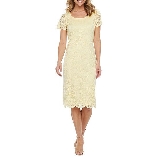 Ronni Nicole Short Sleeve Floral Lace Midi Sheath Dress