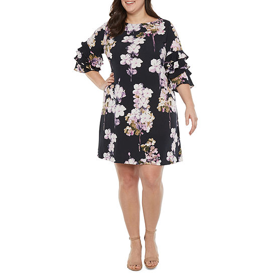 Danny & Nicole-Plus 3/4 Tiered Sleeve Floral Shift Dress