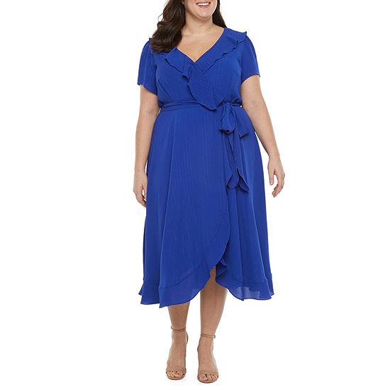 Danny & Nicole-Plus Short Sleeve Wrap Dress
