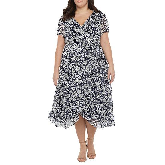 Danny & Nicole-Plus Short Sleeve Floral Wrap Dress