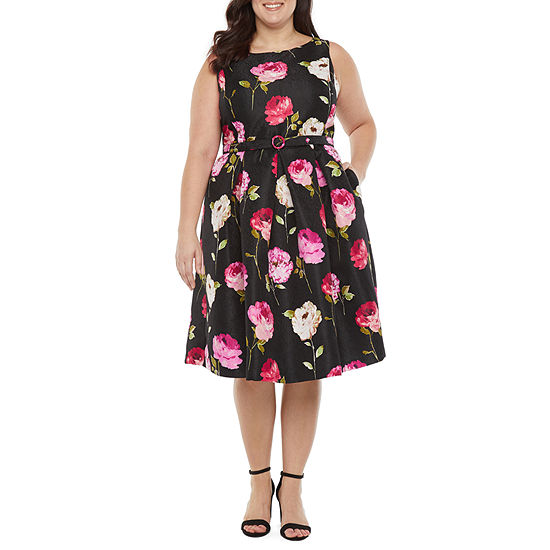 Danny & Nicole-Plus Sleeveless Floral Midi Fit & Flare Dress