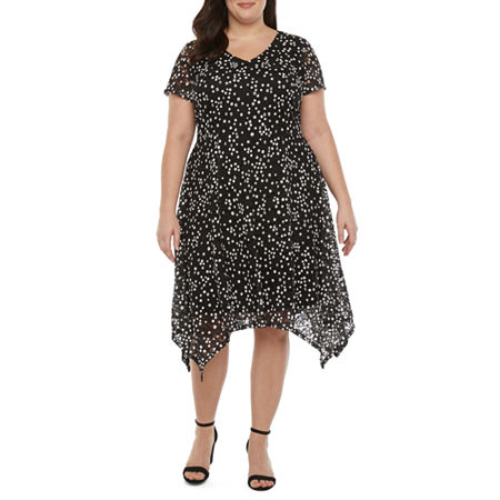 1920s Plus Size Flapper Dresses, Gatsby Dresses, Flapper Costumes Ronni Nicole-Plus Short Sleeve Dots Midi Fit  Flare Dress 16w  Black $41.24 AT vintagedancer.com