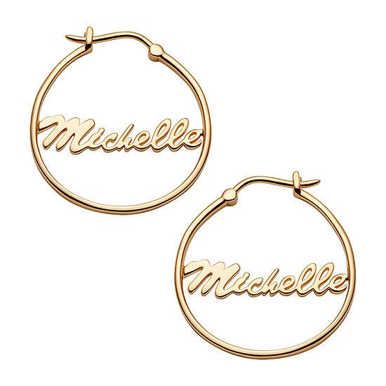 14K Gold Over Silver 25mm Hoop Earrings