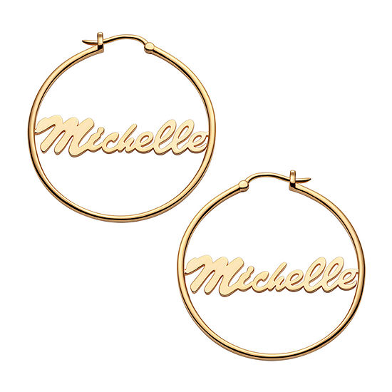 14K Gold Over Silver 35mm Hoop Earrings