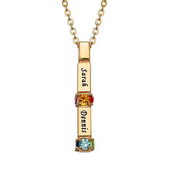 Womens Simulated Multi Color Crystal 14K Gold Over Silver Pendant Necklace