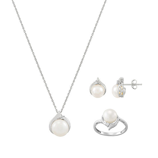 Sofia Womens Diamond Accent Dyed White Cultured Freshwater Pearl 10K Gold Pendant