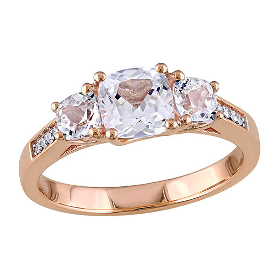 Womens Diamond Accent Lab Created White Sapphire 10K Rose Gold 3-Stone Engagement Ring