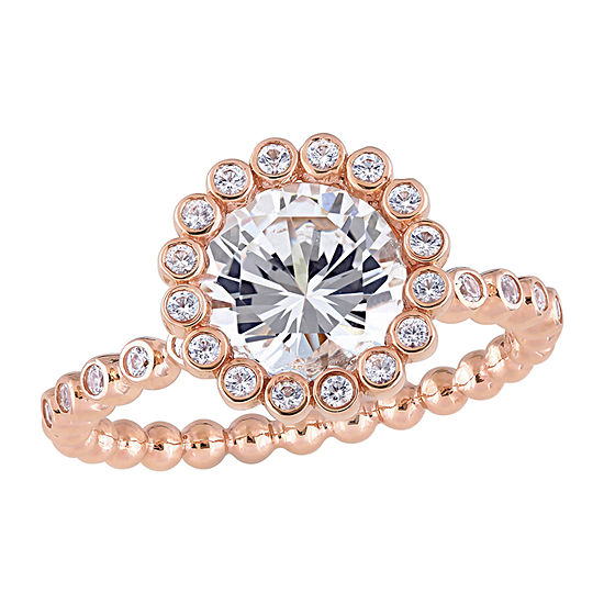 Womens Lab Created White Sapphire 10K Rose Gold Engagement Ring