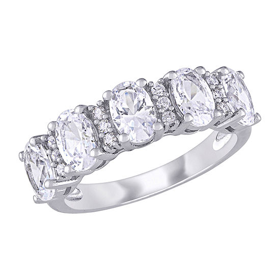 Womens 2.5MM 1/10 CT. T.W. Lab Created White Sapphire 10K White Gold Eternity Band