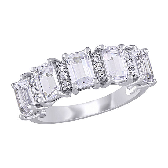 2.5MM 1/10 CT. T.W. Lab Created White Sapphire 10K White Gold Eternity Band