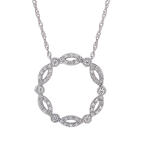 Womens Lab Created White Sapphire 10K White Gold Round Pendant Necklace