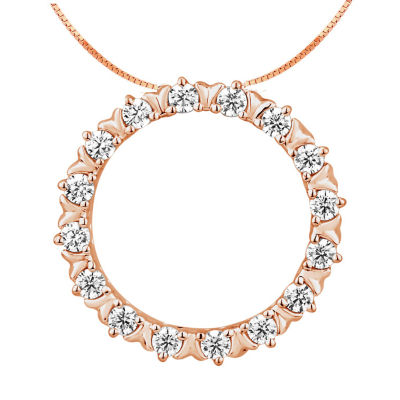 Womens 1/4 CT. T.W. Genuine Diamond 10K Rose Gold Pendant
